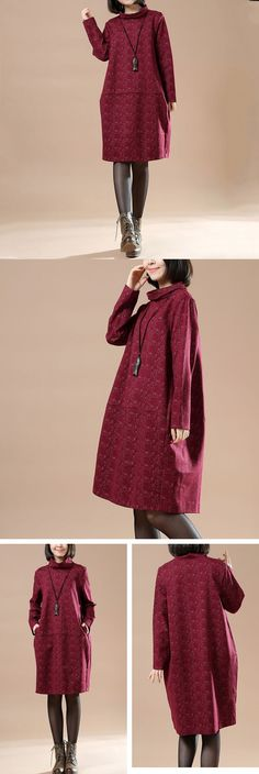 Autumn Large Size Women Casual Long Sleeve Dress $59.00
