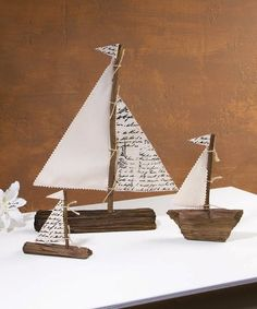 Another great find on #zulily! Driftwood Sailboat Set #zulilyfinds