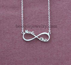 Infinity Symbol Necklace - Name Necklace - Infinity Nameplate Pendant - Eternity Promise Necklace - Sterling Silver