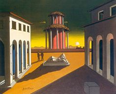 "Giorgio de Chirico was an Italian artist. In the years before World War I, he founded the scuola metafisica art movement, which profoundly influenced the surrealists. (Wikipedia) (""Piazza d' Italia"" by Girogio de Chirico) Henri Rousseau, Max Ernst, Rene Magritte, Italian Painters, Italian Artist, Bg Design, Art Gallery Of Ontario, Expo Milano 2015, Peggy Guggenheim"