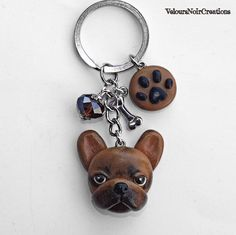 French Bulldog fawn and paw footprint keychain di velvetdressx