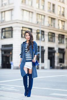 Pleated Shirtdress with Soft Trench Blue Dress Outfits, Blue Dresses, Fall Outfits, Cute Outfits, Wendy's Lookbook, Stripe Skirt, Light Jacket, Lace Shorts, Colors