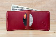 Front Pocket Wallet / Mens Leather Wallet / Slim Wallet / Minimalist Front Pocket / Full Grain Leather / Gifts for Him / Made in USA / Red by CocoaPressLeather on Etsy