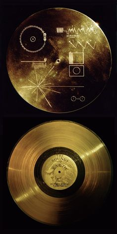 Golden message = The Pioneer plaque. A pair of gold-anodized aluminium plaques which were placed on board the 1972 Pioneer 10 and 1973 Pioneer 11 spacecraft, featuring a pictorial message, in case either Pioneer 10 or 11 is intercepted by extraterrestrial life)
