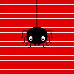 Isn't this the cutest Halloween cross stitch pattern ever? A sweet simple spider against a red striped background: easy to stitch and ever so pretty!