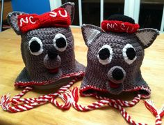 Boy or Girl Wolf NC State Wolfpack Earflap Crochet Hat. $28.00, via Etsy.