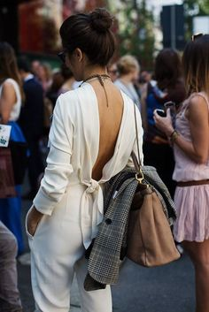 Jumpsuit: cream backless amazing backless white date outfit long sleeves open back bag camel bag bow