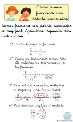 SUMAR FRACCIONES CON DISTINTO DENOMINADOR     Cuándo la suma de fracciones tienen distinto denominador (heterogéneas), lo primero qu...
