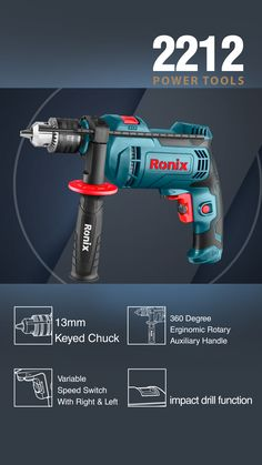 800 W Selective impact drilling mod Full metal, Strong keyed chuck 360 degree rotating side handle with an adjustable depth guide Speed control, anti-dust switch More info at Ronix Website Product Banner, Tool Poster, Catalogue Layout, Branding Agency, Makita, Photoshop Design, Graphic Design Posters, Power Tools, Box Design