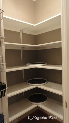 DIY solid shelving and turntables to organize corner pantry