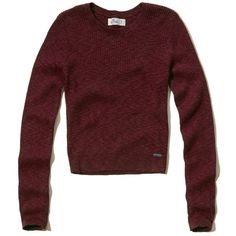 Hollister Cropped Ribbed Sweater ($25) ❤ liked on Polyvore featuring tops, sweaters, hollister, burgundy, red sweater, red cropped sweater, ribbed crop top, red crew neck sweater and slim fit sweaters