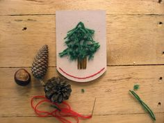 Snowy Forest Embroidered Garland Tutorial. Could also be used for christmas cards