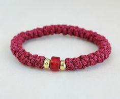 Light Burgundy Cotton Prayer Rope Bracelet with a by BYZANTINO