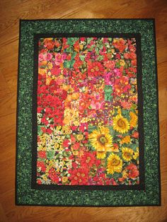 Art Quilt Fall Flowers Fabric Wall Hanging by TahoeQuilts on Etsy, $168.00