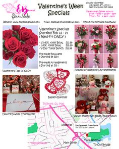 Valentine's Day Flower Shopping from EB Flower Studio! Order the specific flowers for you loved ones! Order in online and pickup at our Flower Studio, OR have them delivered to you house (Middlesex NJ County)! Floral Arrangement Classes, Valentine's Day Flower Arrangements, Flower Studio, Flowers For You, Funeral, Chocolates, Bouquets, Valentines Day, Balloons