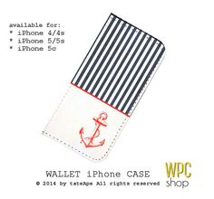 Nautical iPhone 5 wallet case navy wallet by WalletPhoneCase, $21.00