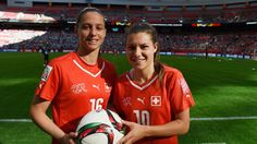 Hat trick heroes Fabienne Humm and Ramona Bachmann Football Soccer, Football Players, Laws Of The Game, St Etienne, Fifa Women's World Cup, Association Football, International Football, Sports Women, Olympics