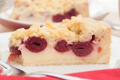 Cherry crumble cake with pudding filling - Backen - Kuchen Vegan Pudding, Pudding Desserts, Pudding Cake, Baking Recipes, Cake Recipes, Cake Simple, Cherry Crumble, Cheesecake, Country Cooking
