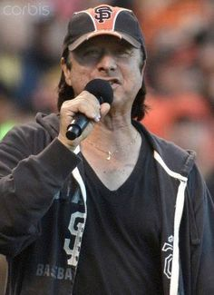 Still rockin' his musical note, the man with the golden pipes, Steve Perry ~ at the Giants Game---Go GIANTS!
