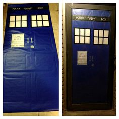 Doctor Who Party Door- A TARDIS from a dollar store roll of wrapping paper & electrical tape.