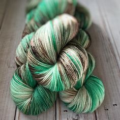 Mint Chocolate Christmas fingering weight hand dyed sock yarn by MILandDILcraft (affiliate link)