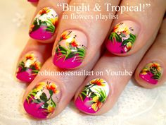 Tropical Neon flower Nail Art on Hot Pink Tips! HOT nail design tutorial - YouTube
