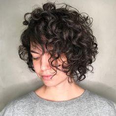Side-Parted Curly Brunette Bob