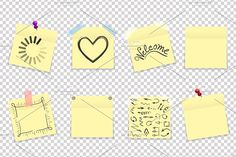 Vector yellow office paper stickers Graphics Mega pack of yellow office paper stickers with shadow isolated. Vector illustration by PhotoVector
