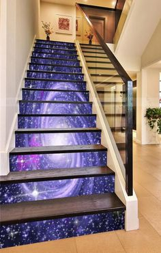 How to order: Stairways come in all different widths and number of stairs. We regularly produce the most common sizes, but can custom build a design for most stairways, at similar prices. All panels are tall, as the clear area on most risers are to and Tiled Staircase, Painted Staircases, Marble Stairs, Staircase Design, Stairs Graphic, Floor Design, House Design, Stairway Art, Basement Movie Room