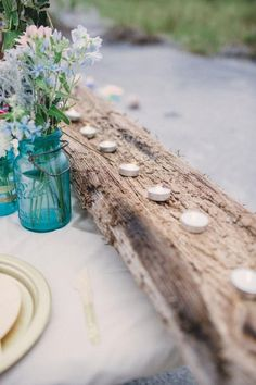 Preppy Boho Wedding Table Decor Ideas / http://www.deerpearlflowers.com/woodland-wedding-table-decor-ideas/2/