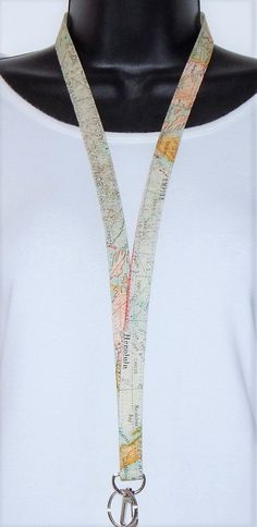 Lanyard - Id Badge Holder - Id Holder - Key Lanyard - Teacher Lanyard - Fabric Lanyard - Keychain - Map Lanyard