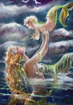 Beautiful mother's day gift. Mother and child mermaid poster print. Original art. High quality clear image. You pick the size and paper type. Just add your own frame and you have a unique gift for mother's day. #ad