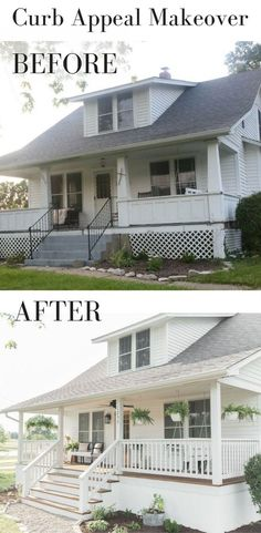 Home Renovation Ideas Farmhouse font porch curb appeal makeover - We worked so hard on this farmhouse porch curb appeal makeover. I am so pleased to say it is finally finished! New paint, fresh landscaping, and lots of DIY Farmhouse Font, Farmhouse Remodel, Farmhouse Style, Farmhouse Decor, Fresh Farmhouse, Farmhouse Renovation, Farmhouse Design, Home Renovation Loan, Architecture Renovation