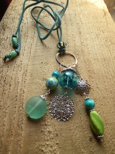 teal and lime charm necklace by DesisDesignsShop on Etsy