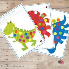 Dinosaur Pom Pom Learning Mats AUTOMATIC by BUSYLITTLEBUGSshop