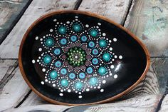 Lagoon Jewel Drop Mandala Bowl. The calming blues and purples of this design remind me of a deep blue lagoon. Store your keys, wallet, change, jewelry or anything else you need to keep safe in these gorgeous bowls. Great for Christmas presents too!!! The interior is painted a