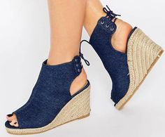 "- Denim upper - Lace-up heel - Open heel and toe - High wedge heel - Do not wash - 100% Textile Upper - Heel height: 9.5cm/3.5"" This product delivers within 6-10 business days"