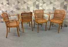 Four Mid-Century Bentwood Prague Chairs designed by Josef Hoffmann. This beautiful set of chairs was produced by Thonet in Czechoslovakia and