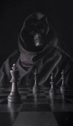 Creepy Grim Reaper & a game of chess Grim Reaper Art, Don't Fear The Reaper, Arte Horror, Horror Art, Dark Fantasy Art, Dark Art, Reaper Tattoo, Totenkopf Tattoos, Skull Wallpaper