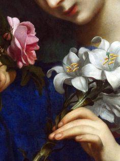 23silence: Dopo Carlo Dolci (1616-1686) - La Vergine e il Bambino con fiori, dettagli.