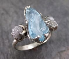 Aquamarine Diamond White Gold Engagement Ring Wedding Raw Uncut Custom One Of a Kind Gemstone Ring Bespoke Three stone