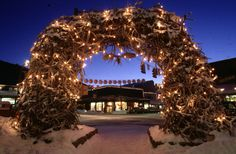 Jackson, WY antler arch at Christmas