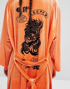 Jaded London   Jaded London Trophy Kimono In Velvet With Tattoo Patches Print