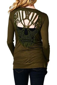 Stylish Scoop Neck Long Sleeve Hollow Out Skull Pattern T-Shirt For Women