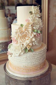 Wedding Cake: See more of this wedding on SMP: http://www.StyleMePretty.com/georgia-weddings/savannah/2014/01/23/romantic-savannah-wedding/ Photography: Memories N More
