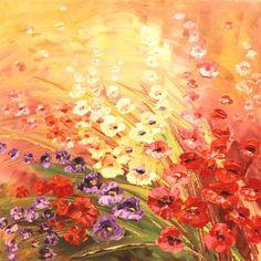 "Artist Tatiana Iliina; flower Painting, ""Catch of the Day"" #art #paletteknife"