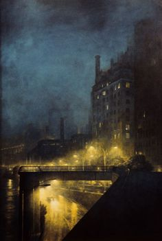 "Craig McPherson (American, b. 1948) - ""East River"", c. 1985-91 - Oil painting"