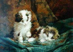 Cornelis Raaphorst (Nieuwkoop 1875-1954 Wassenaar) Two kittens - Dutch Art Gallery Simonis and Buunk Ede, Netherlands.