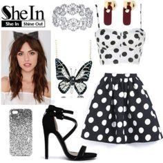 SheIn: Black Polka Dot Flare Skirt
