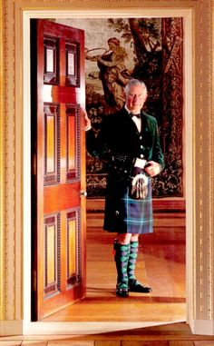 TARTAN: Prince Charles (known as the Duke of Rothesay when in Scotland) stands at the entrance to the Tapestry Room of Dumfries House, which was preserved for posterity through his efforts.He is wearing a Tartan.